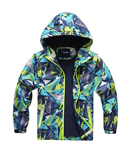 359e586ab5c06b YoungSoul Jungen Gefütterte Regenjacke Gemusterte Wasserdicht Winddicht  Windjacke Regenmantel mit Kapuze Grün Etikette XL von YoungSoul