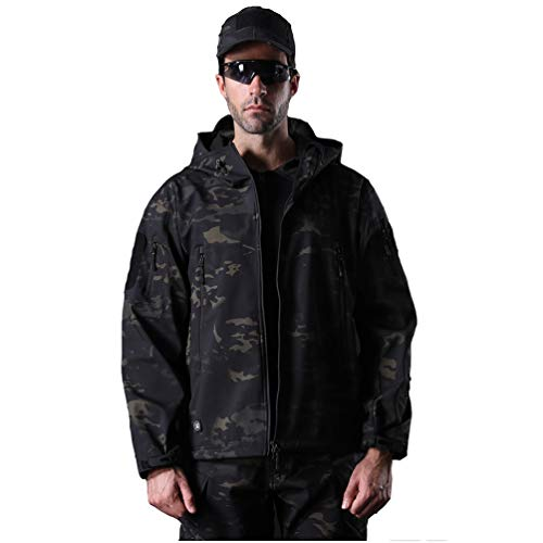 YuanDian Herren Tactical Camouflage Softshelljacke Herbst Winter Outdoor Armee Military Fleecejacke Wasserdicht Winddicht Warm Mit Kapuze Trekking Wander Skijacke Jagd Mantel Dunkle Tarnung 3XL von YuanDiann