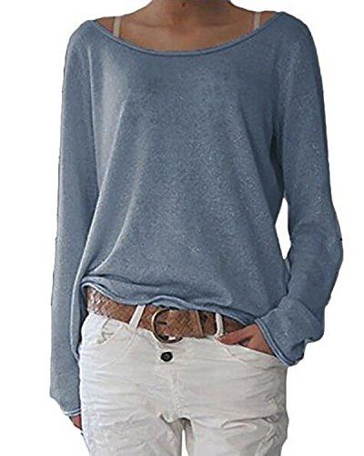 db8f4ebf340b ZANZEA Damen Langarm Lose Bluse Hemd Shirt Oversize Sweatshirt Oberteil Tops  Marine EU 36-38
