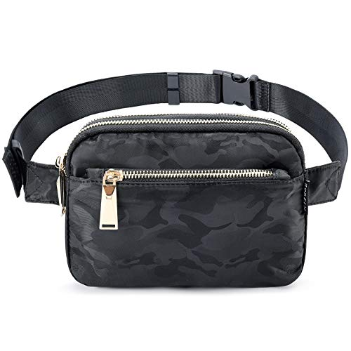 LOVE BLACK HIENJOY Slogan Fanny Pack PU Leather Waist Bag for Women Rave Festival Fanny Pack with Chain Strape