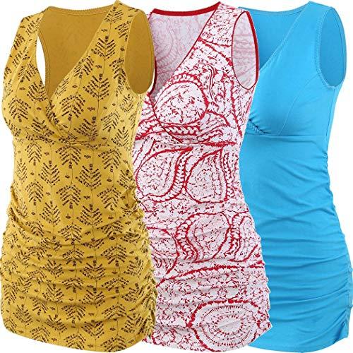 Schwangeres Stillen Nursing Schwangerschaft Top Umstandsmode Unterw/äsche ZUMIY Still-Shirt//Umstandstop