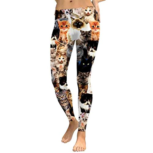 Zarupeng Frauen Katzen Druck Yogahosen, Workout Leggings Fitness Sport Running Yoga Sporthose Stretch Dünne Jeggings Sweatpants (S, Mehrfarbig) von Zarupeng