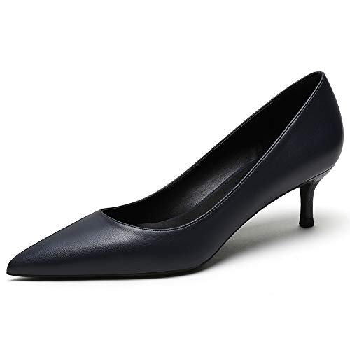 Zoducaran 3CM Heel Elegant Damen Pumps Kitten Heel Slip On Business Schuhe Basic Pointed Toe Hochzeit Dress Schuhe Party Heels Leather Darkblue Size 43 von Zoducaran