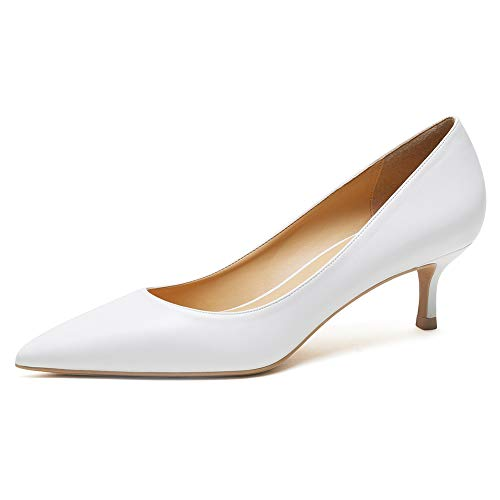 Zoducaran 3CM Heel Elegant Damen Pumps Kitten Heel Slip On Business Schuhe Basic Pointed Toe Hochzeit Dress Schuhe Party Heels Leather White Size 39 von Zoducaran