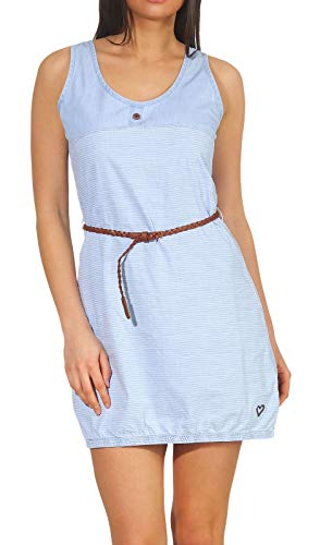 alife and Kickin DOJA D Dress Damen Sommerkleid, Jerseykleid, Strandkleid, Kleid, Light Denim Stripes, M von alife & kickin
