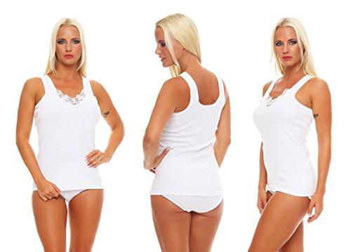 787800c35337fa 4 Stück Damen-Vollachsel Unterhemden weiß mit Spitze Gr. 44/46,  damenunterhemden