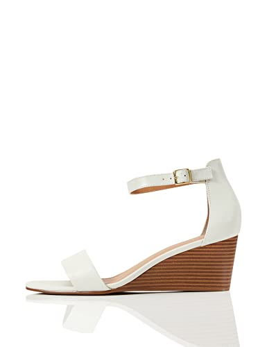 Amazon-Marke: FIND Wedge Leather Sandalen, Elfenbein (Off-White), 40 EU von find.