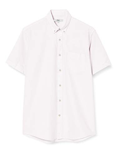 Amazon-Marke: find. Herren Kurzärmeliges Oxford-Hemd, Pink (Pink), L, Label: L von find.
