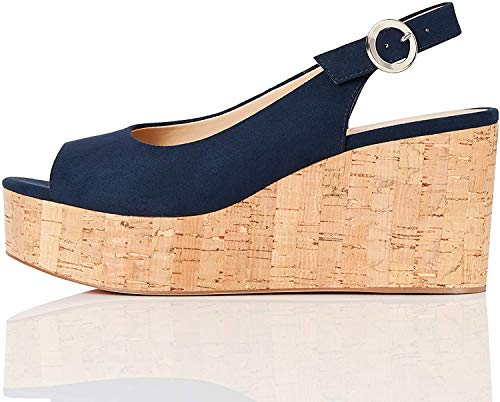 FIND Cork Peep Toe Sling Back Wedge Peeptoe Pumps, Blau (Navy), 41 EU von find.