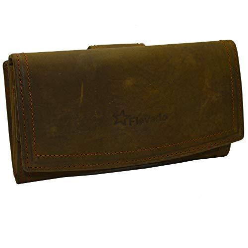 dcdd927c4335e Hunter Leder Buisness Damen Geldbörse Vintage Nubukleder Hand Made mit RFID  Schutz von flevado