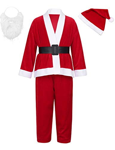 iEFiEL Baby Weihnachtskostüm Mädchen/Jungen Weihnachtsmann Kostüme Kinder Samt Winter Warm Xmas Outfits Cosplay Party Verkleidung Set gr. 68-164 Rot für Kinder 134-146 von iEFiEL