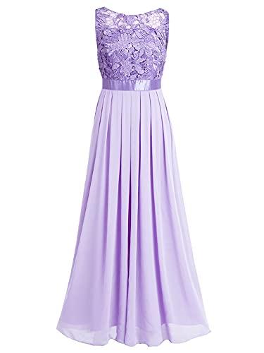 iEFiEL Damen Kleid festliche Kleider Brautjungfer Hochzeit Cocktailkleid  Chiffon Faltenrock Elegant Langes Abendkleid Lavender 38 (