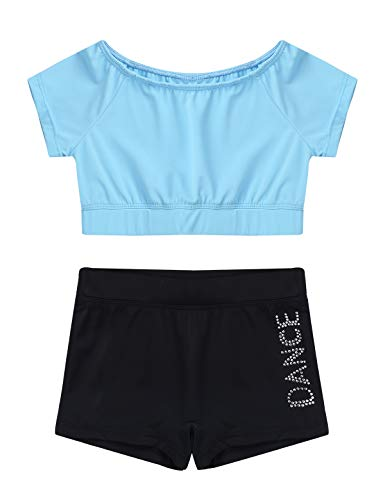 iEFiEL Kinder Mädchen Sport Kleidung Sets Kurzarm Crop Top + Shorts Briefs Workout Outfits Gymnastik Slim Fit Trainingsanzug Gr. 98-152 Hell Blau 140-152 von iEFiEL