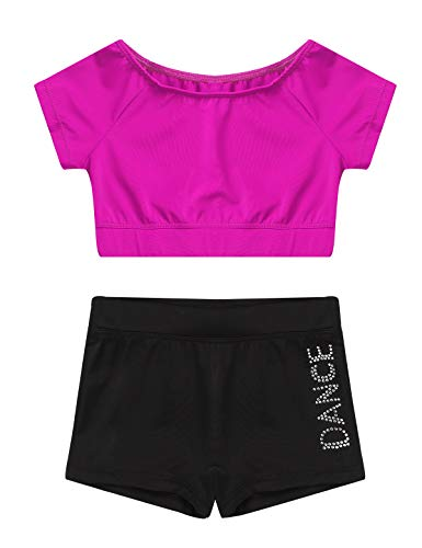 iEFiEL Kinder Mädchen Sport Kleidung Sets Kurzarm Crop Top + Shorts Briefs Workout Outfits Gymnastik Slim Fit Trainingsanzug Gr. 98-152 Rose Rot 122-128 von iEFiEL