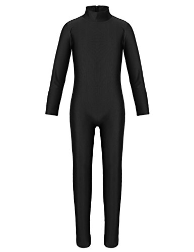 iEFiEL Turnanzug Kinder Mädchen Gymnastikanzug Trikot Body Kind Leotard Ballett Gymnastik Turnbody Tanzkleidung Sport Training Dancewear 2-12 Jahre Schwarz (Zipper) 122-128 von iEFiEL