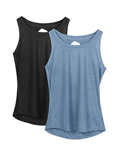 Sport Oberteil Yoga Top Casual Bluse Vest /Ärmellose Shirt icyzone Damen R/ückenfrei Tank Tops 2er Pack
