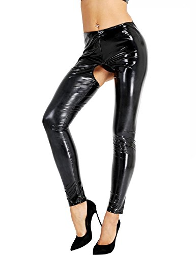 0bb068858576 iixpin Damen Wetlook Leggings Stretch PU Lederhose Glänzend Ouvert-Hose  Kunstleder Slim Schwarz Smooth Hose