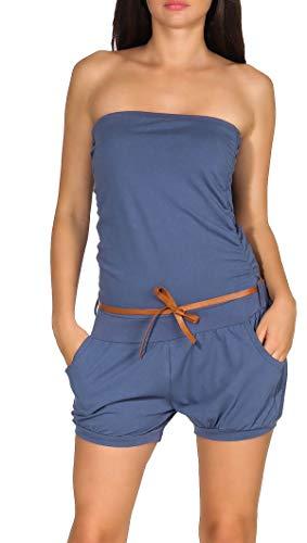 kurzer Overall schulterfrei Romper 8963 Malito Damen Einteiler mit Anker Print Jumpsuit mit G/ürtel