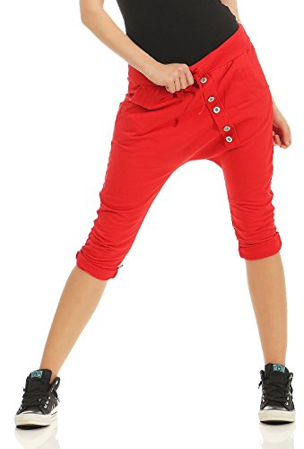 malito Damen kurze Hose mit Knopfleiste | Chino Hose in Unifarben | Baggy zum Tanzen | Sweatpants - Trainingshose 8015 (rot) von malito more than fashion