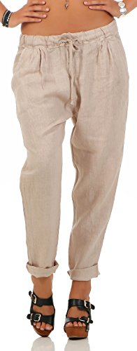 malito Damen Hose aus Leinen | Stoffhose in Unifarben | Freizeithose für den Strand | Chino – Jogginghose 6816 (beige, XL) von malito more than fashion