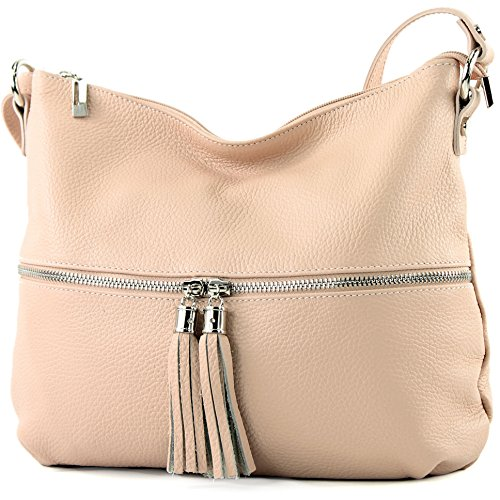 modamoda de - ital. Ledertasche Schultertasche Damentasche Umhängetasche Leder T168, Präzise Farbe:Rosabeige modamoda de - Made in Italy