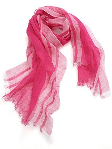 842e0207974353 prettystern Zweifarbige Streifen Lang Frühling & Sommer 100% Leinen Fransen Schal  Pink Rosa T47 von