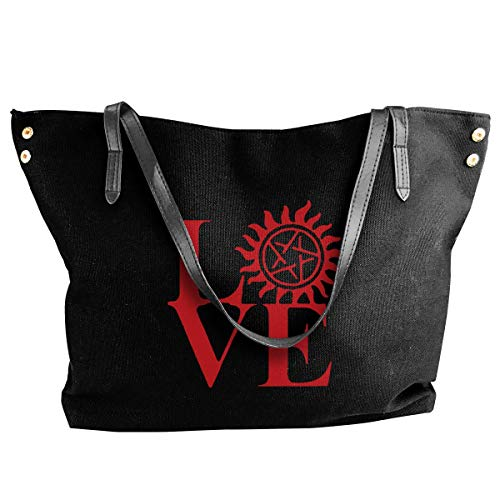 sghshsgh Umhängetaschen,Damenhandtaschen, Love Supernatural Shoulder Bag Women Fashion Canvas Handbag Beach Bags For Shopping von sghshsgh