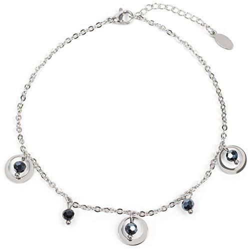Fashion Jewelry Fußkette Fußkettchen In Silber Mit Lederband In Weiß Und Zwei Anhängern Boho Modern Design Jewelry & Watches